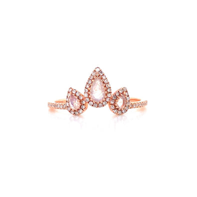 14K Rose Gold Diamond + Pear Shape Moonstone Ring