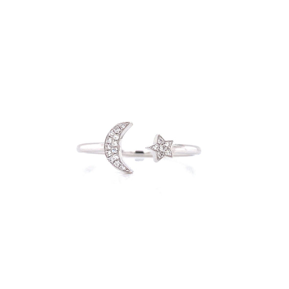14K White Gold Diamond Open Moon & Star Ring