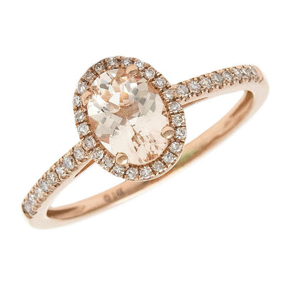 14K Rose Diamond & Morganite Oval Rings