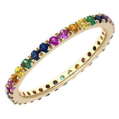 14K Yellow Gold Diamond Rainbow Eternity Ring