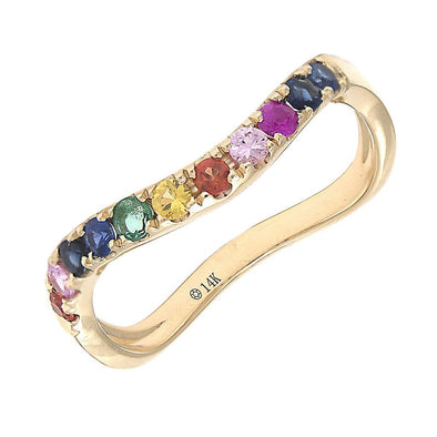 14K Yellow Multi Sapphire Rainbow Curved Band