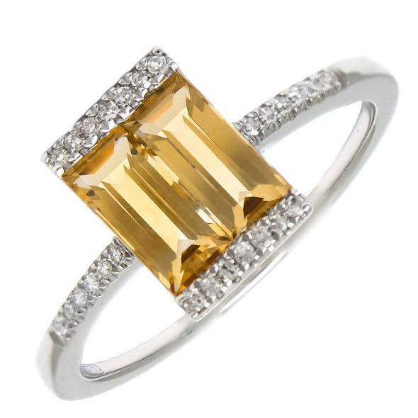 14k Yellow Gold Diamond & Citrine Ring