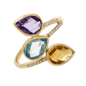 14K Yellow Gold Amethyst, Citrine, Blue Topaz Pear Ring