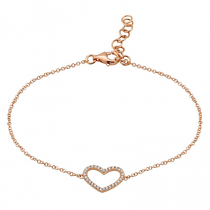 14K Rose Gold Open Diamond Heart Bracelet