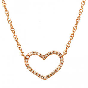 14K ROSE GOLD DIAMOND OPEN HEART NECKLACE