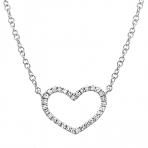 14K WHITE GOLD DIAMOND OPEN HEART NECKLACE