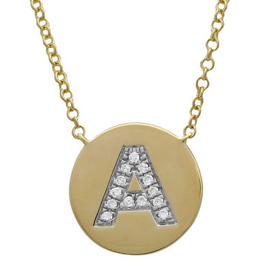 14K Yellow Gold Diamond Initial Disc Necklace