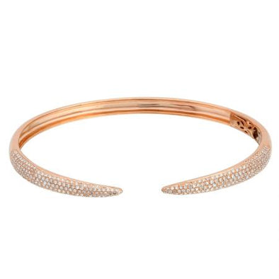 14K Rose Gold Diamond Open Bangle