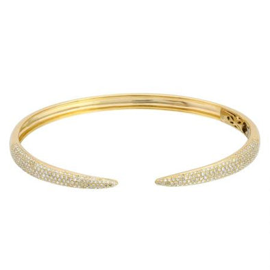 14K Yellow Gold Diamond Open Bangle