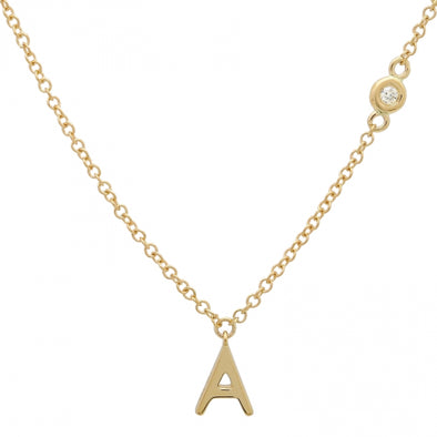 14K Yellow Gold Initial + Diamond Bezel Chain