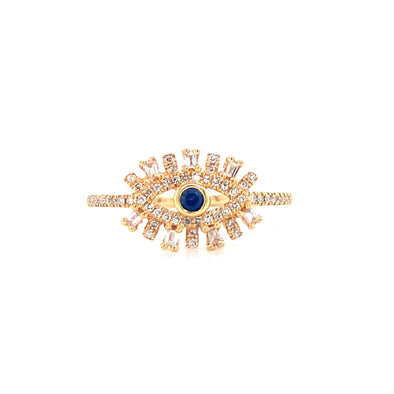 14K Yellow Gold Diamond + Sapphire Evil Eye Ring