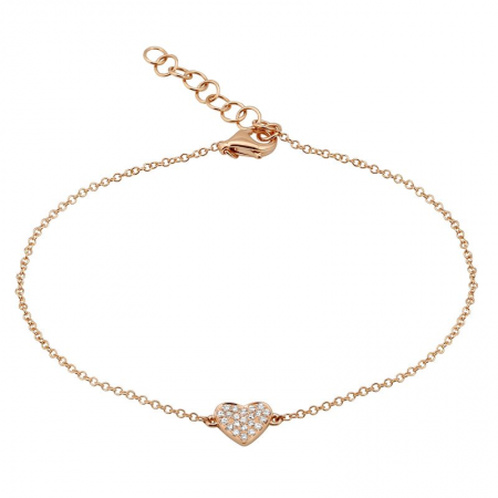 14K Rose Gold Dainty Diamond Heart Bracelet