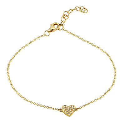 14K Yellow Gold Dainty Diamond Heart Bracelet
