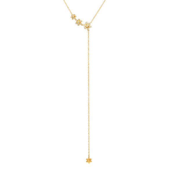 14K Yellow Gold Flower Lariat Necklace