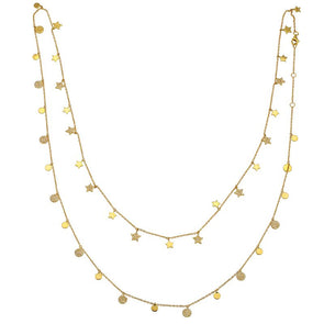 14K Yellow Gold Round Diamond Disc + Star Layering Necklace