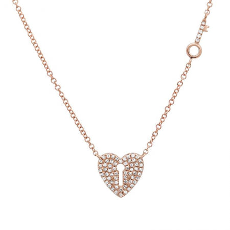 14K Yellow Gold Diamond Heart Lock and Key Necklace