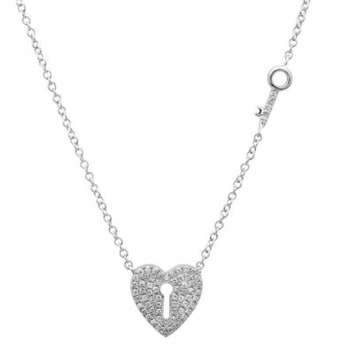14K White Gold Diamond Heart Lock and Key Necklace