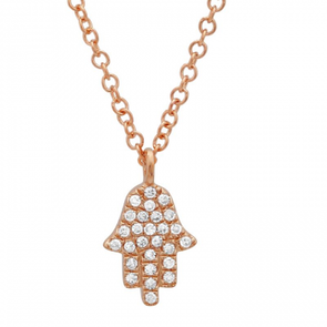 14K Rose Gold Diamond Petite Hand of God- Hamsa Pendant  & Chain