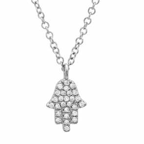 14K White Gold Diamond Petite Hand of God- Hamsa Pendant  & Chain
