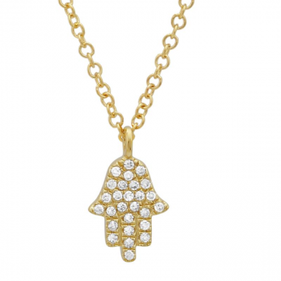 14K Yellow Gold Diamond Petite Hand of God- Hamsa Pendant  & Chain