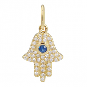 14K Yellow Gold Hamsa Diamond Necklace Charm