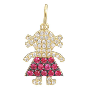14k Yellow Gold Diamond & Ruby Girl Charm/Pendant