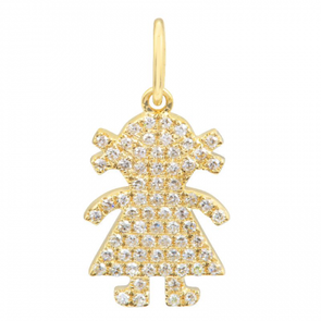14K YELLOW GOLD DIAMOND PAVE GIRL PENDANT