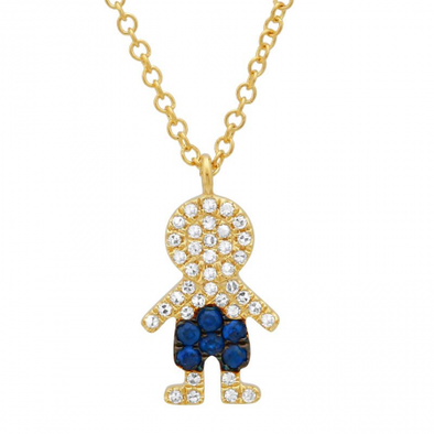 14K Yellow Gold Diamond + Blue Sapphire Boy Necklace