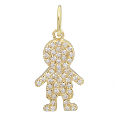 14K YELLOW GOLD DIAMOND PAVE BOY PENDANT