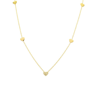 14K Yellow Gold Diamond Pave Heart Station Necklace