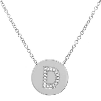14K White Gold Diamond Initial Disc Necklace