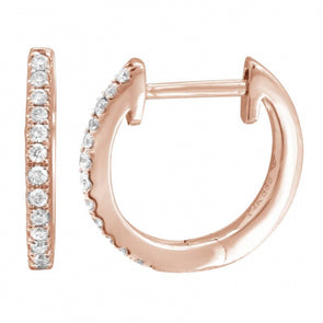 14K 13mm Diamond Hoop Earrings
