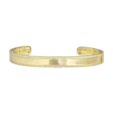 14K Yellow Gold Diamond ID Cuff Bangle Bracelet