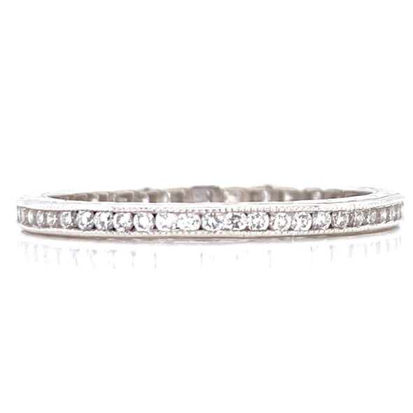 Platinum 0.60ct Diamond Milgrain Eternity Band