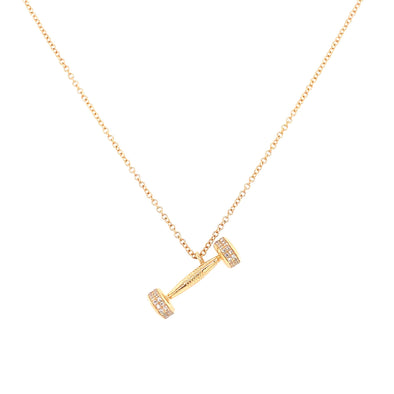 14K Yellow Gold Diamond Dumbbell Necklace