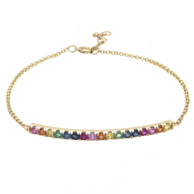 14K Yellow Gold Colored Stone Curved Bar Bracelet