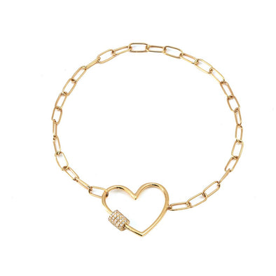 14k Yellow Diamond Heart Charm Paperclip Bracelet
