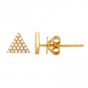 14k Yellow Gold Triangle Diamond Earrings