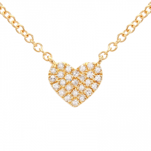 14K Yellow Gold Diamond Pave Heart Necklace