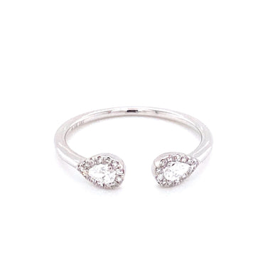 14K White Gold Pear Diamond Open Cuff Ring