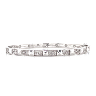 14K White Gold Diamond Studded Bangle