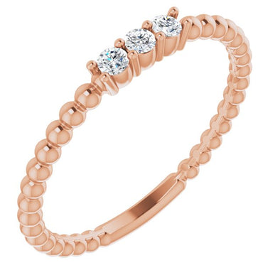 14K Rose Gold Diamond Beaded Ring