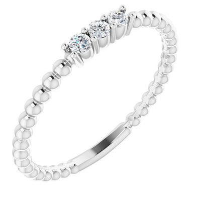 14K White Gold Diamond Beaded Ring