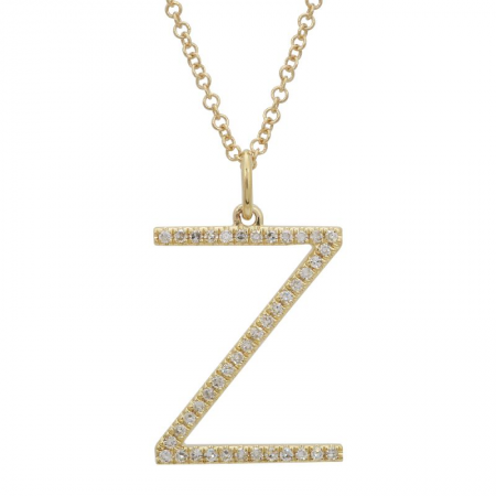14K Yellow Gold Modern Diamond Initial Necklace