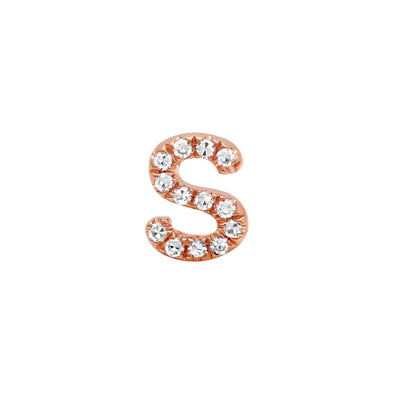 14K Rose Gold Mini Diamond Initial Earring