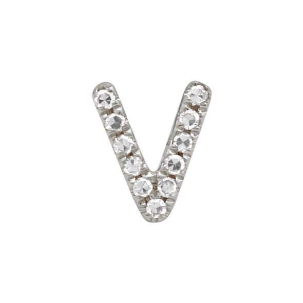 14K White Gold Mini Diamond Initial Earring
