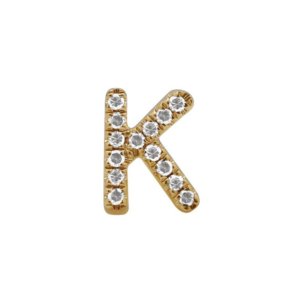 14K Yellow Gold Mini Diamond Initial Earrings