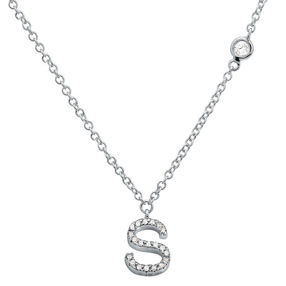 14K White Gold Diamond Initial Necklace with Diamond Chain (A-Z)