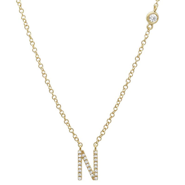 14K Yellow Gold Diamond Initial Necklace with Diamond Chain (A-Z)