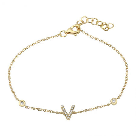 14K Yellow Gold Diamond Initial Bracelet